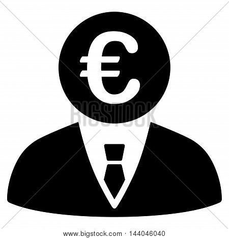 Euro Clerk icon. Glyph style is flat iconic symbol, black color, white background.