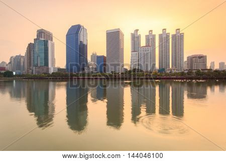 Building with Reflection on weter lake in Bangkok Thailand
