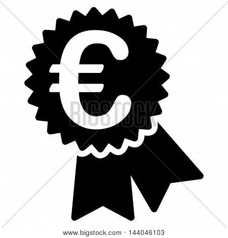 Euro Featured Price Tag icon. Glyph style is flat iconic symbol, black color, white background.