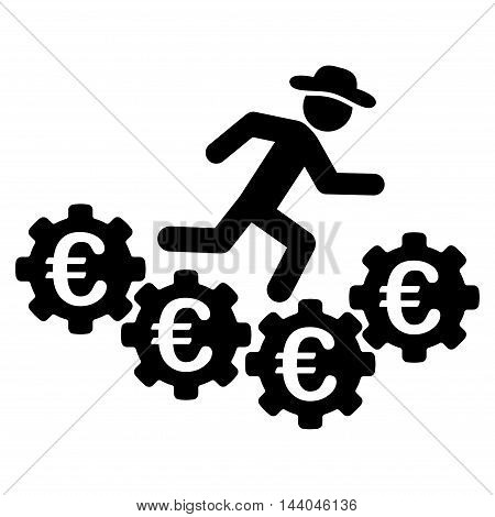 Euro Gears Runner icon. Glyph style is flat iconic symbol, black color, white background.