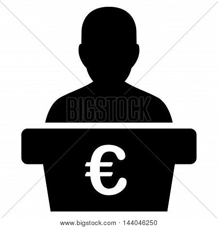 Euro Politician icon. Glyph style is flat iconic symbol, black color, white background.