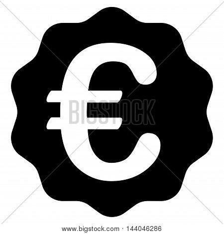 Euro Reward Seal icon. Glyph style is flat iconic symbol, black color, white background.