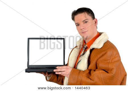 Young Businessman With Blank  Laptop Screen