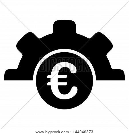 Euro Technology icon. Glyph style is flat iconic symbol, black color, white background.