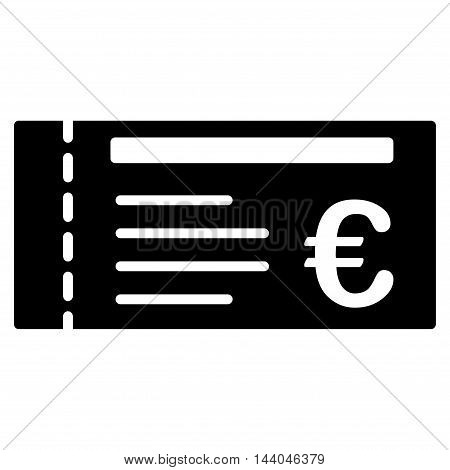 Euro Ticket icon. Glyph style is flat iconic symbol, black color, white background.