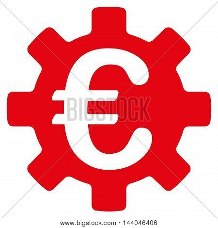 Euro Machinery Gear icon. Glyph style is flat iconic symbol, intensive red color, white background.