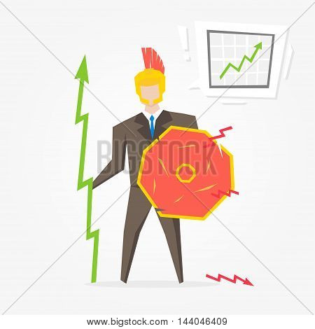 Businessman Spartan With Chart Vector Illustration