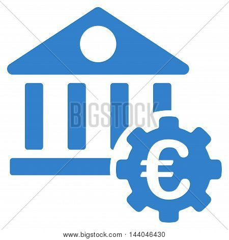Euro Bank Building Options icon. Glyph style is flat iconic symbol, cobalt color, white background.