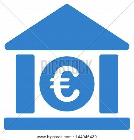 Euro Bank Building icon. Glyph style is flat iconic symbol, cobalt color, white background.