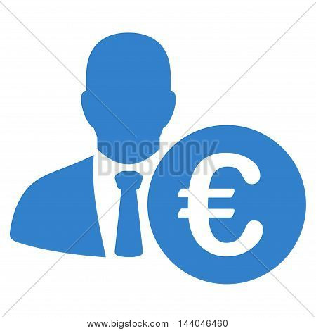 Euro Banker icon. Glyph style is flat iconic symbol, cobalt color, white background.