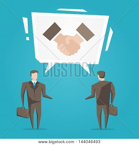 Businessmen With Handshake Speech Cloud Vector Illustration