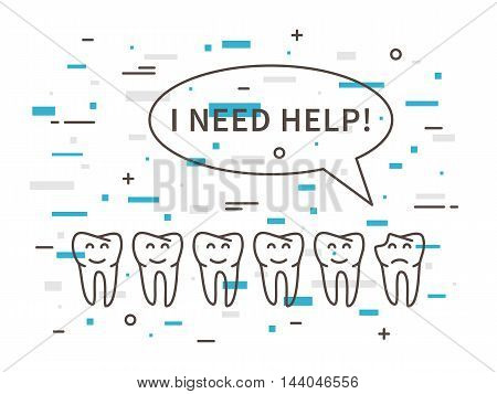 Dental Tooth Caries Linear Vector Illustration