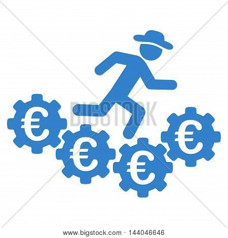Euro Gears Runner icon. Glyph style is flat iconic symbol, cobalt color, white background.