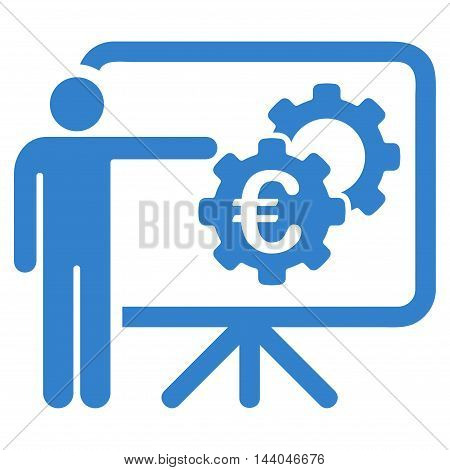 Euro Industrial Project Presentation icon. Glyph style is flat iconic symbol, cobalt color, white background.