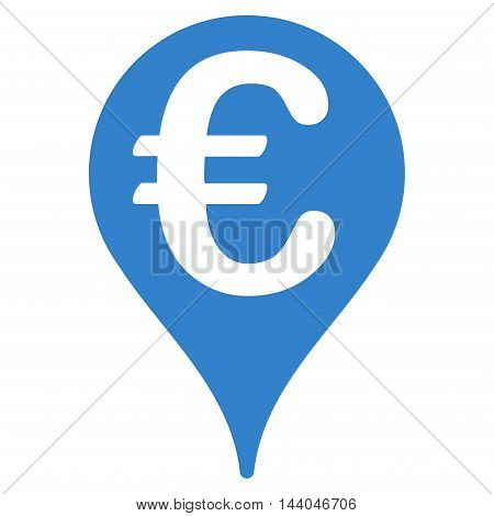Euro Map Pointer icon. Glyph style is flat iconic symbol, cobalt color, white background.