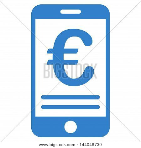 Euro Mobile Banking icon. Glyph style is flat iconic symbol, cobalt color, white background.
