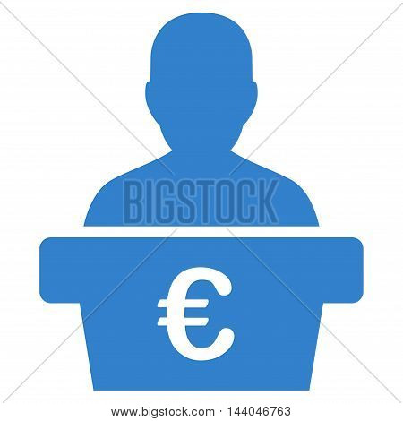 Euro Politician icon. Glyph style is flat iconic symbol, cobalt color, white background.