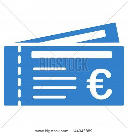 Euro Tickets icon. Glyph style is flat iconic symbol, cobalt color, white background.