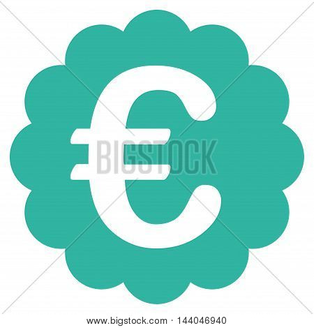 Euro Quality Seal icon. Glyph style is flat iconic symbol, cyan color, white background.