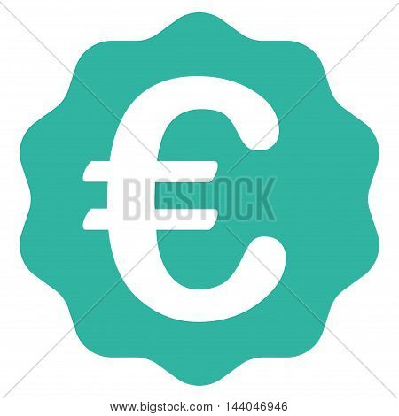 Euro Reward Seal icon. Glyph style is flat iconic symbol, cyan color, white background.