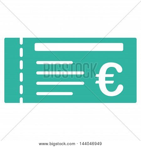 Euro Ticket icon. Glyph style is flat iconic symbol, cyan color, white background.