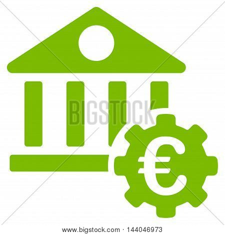 Euro Bank Building Options icon. Glyph style is flat iconic symbol, eco green color, white background.