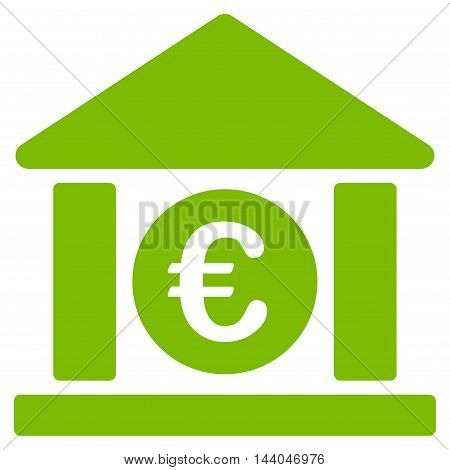Euro Bank Building icon. Glyph style is flat iconic symbol, eco green color, white background.