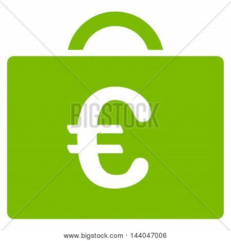 Euro Bookkeeping Case icon. Glyph style is flat iconic symbol, eco green color, white background.