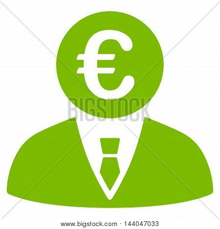 Euro Clerk icon. Glyph style is flat iconic symbol, eco green color, white background.
