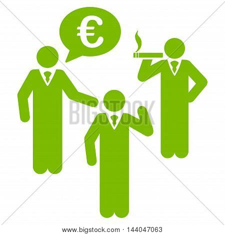 Euro Discuss People icon. Glyph style is flat iconic symbol, eco green color, white background.