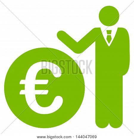 Euro Economist icon. Glyph style is flat iconic symbol, eco green color, white background.