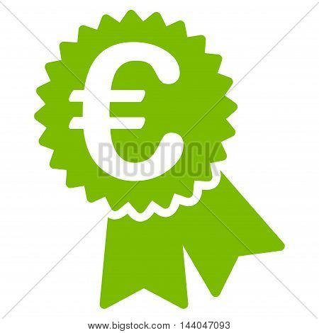 Euro Featured Price Tag icon. Glyph style is flat iconic symbol, eco green color, white background.