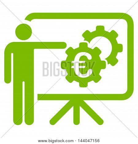 Euro Industrial Project Presentation icon. Glyph style is flat iconic symbol, eco green color, white background.