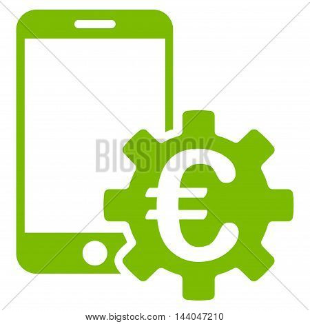 Euro Mobile Bank Configuration icon. Glyph style is flat iconic symbol, eco green color, white background.