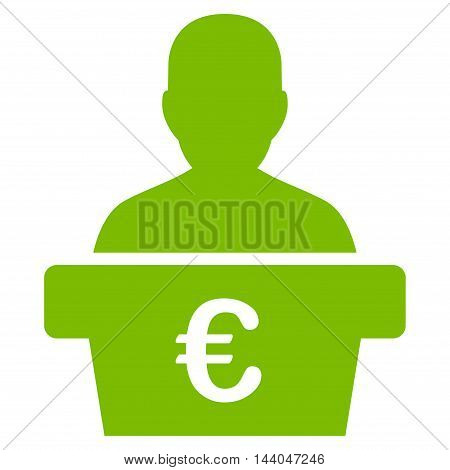 Euro Politician icon. Glyph style is flat iconic symbol, eco green color, white background.