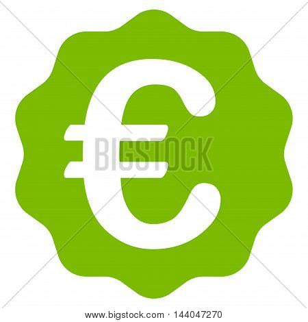 Euro Reward Seal icon. Glyph style is flat iconic symbol, eco green color, white background.
