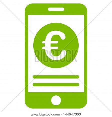 Euro Smartphone Banking icon. Glyph style is flat iconic symbol, eco green color, white background.