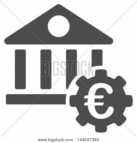 Euro Bank Building Options icon. Glyph style is flat iconic symbol, gray color, white background.