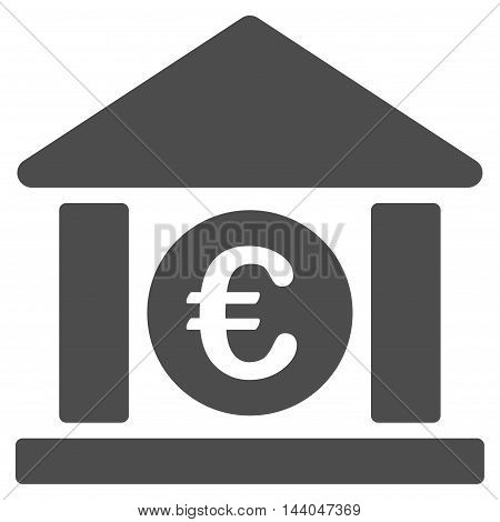 Euro Bank Building icon. Glyph style is flat iconic symbol, gray color, white background.