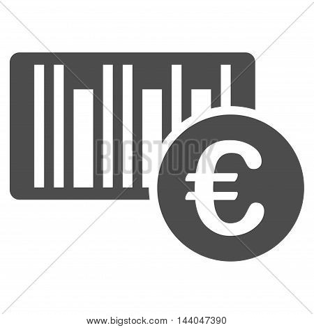 Euro Bar Code Price icon. Glyph style is flat iconic symbol, gray color, white background.