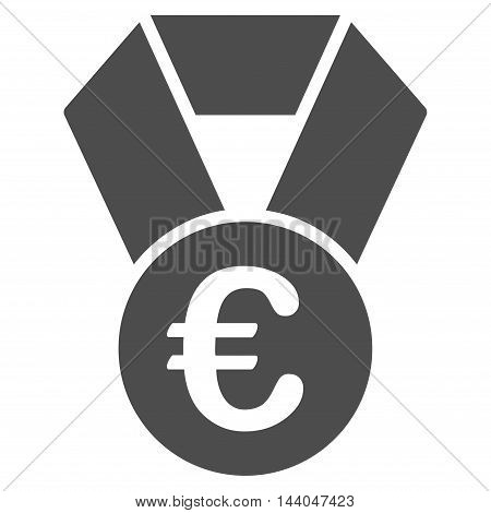 Euro Champion Medal icon. Glyph style is flat iconic symbol, gray color, white background.