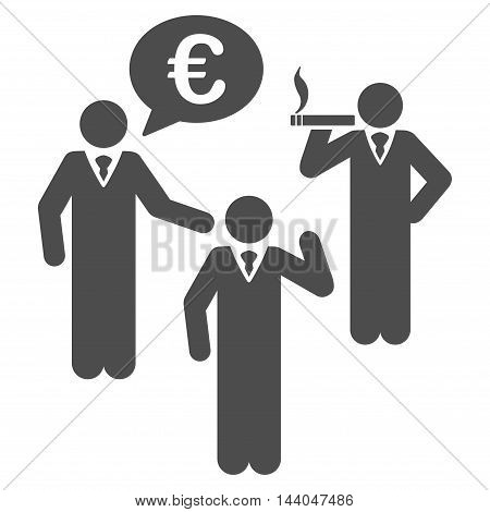 Euro Discuss People icon. Glyph style is flat iconic symbol, gray color, white background.