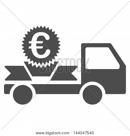 Euro Gift Delivery icon. Glyph style is flat iconic symbol, gray color, white background.
