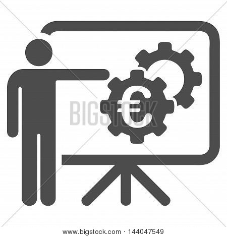 Euro Industrial Project Presentation icon. Glyph style is flat iconic symbol, gray color, white background.