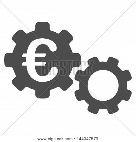 Euro Mechanics icon. Glyph style is flat iconic symbol, gray color, white background.