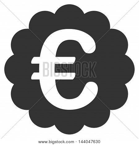 Euro Quality Seal icon. Glyph style is flat iconic symbol, gray color, white background.