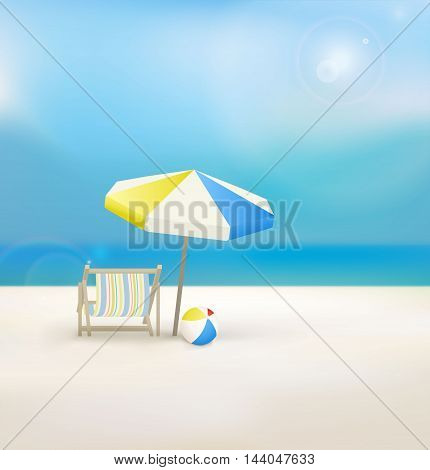 Beach and tropical sea. Vector. Template design