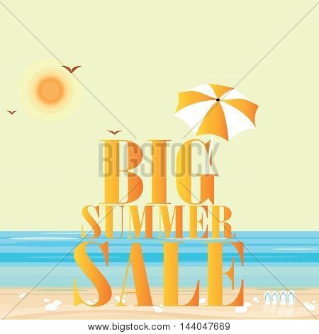 Hot summer sale template banner discount shopping design concept flat icons vector illustration.