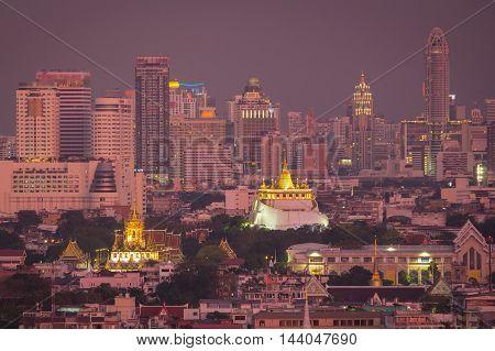 Bangkok Thailand landmark Wat Ratchanaddaram and Loha Prasat Metal