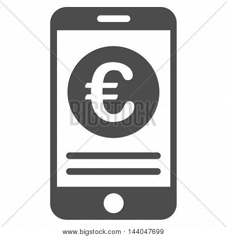 Euro Smartphone Banking icon. Glyph style is flat iconic symbol, gray color, white background.
